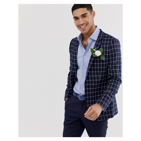ASOS DESIGN wedding super skinny blazer in navy grid check