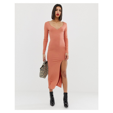 ASOS DESIGN rib maxi dress with sweetheart neck and split