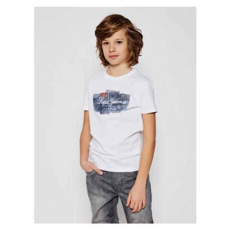 Pepe Jeans T-Shirt Slbert PB503000 Biały Regular Fit