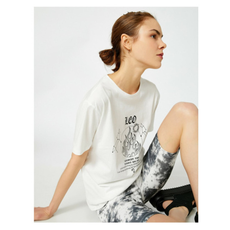 Koton Women's Ecru Printed Crew Neck Cotton T-Shirt