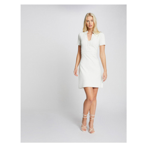 Morgan Sukienka dzianinowa 211-RMSIGN Biały Regular Fit