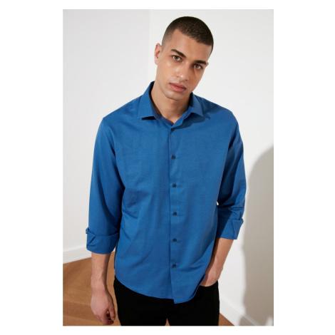 Trendyol Navy Blue Męski Relax Fit Oxford Koszula kołnierzyk