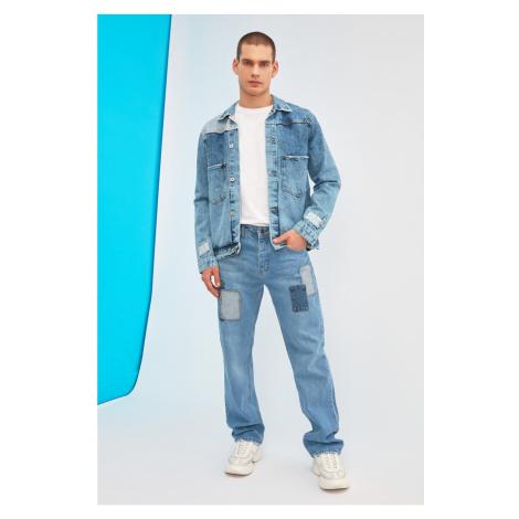 Trendyol Blue Męskie Połatane Regularne Dżinsy Fit