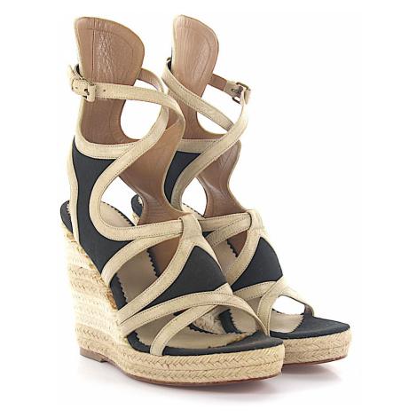 Balenciaga - Buty Sandały na koturnie z paskiem skóra beżowe materiał czarne