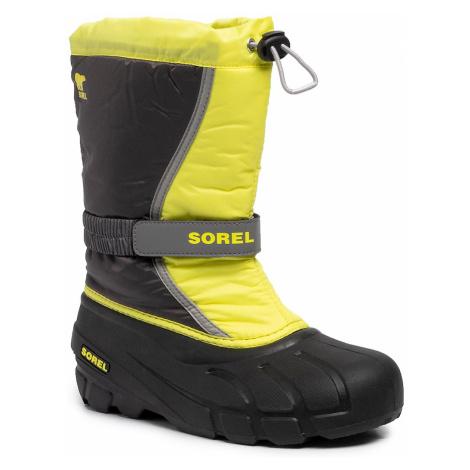 Śniegowce SOREL - Youth Flurry NY1965 Dark Grey/Warining Yellow 089