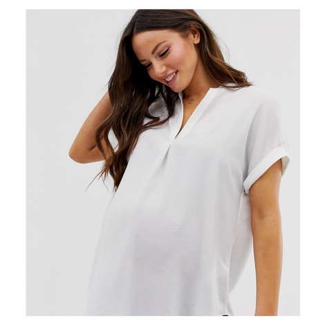 New Look Maternity sleeveless stand collar shirt in white