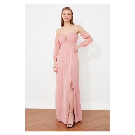 Trendyol Suszony Róża Szyja Szczegółowy Suknia Wieczorowa & Suknia Ukończenia