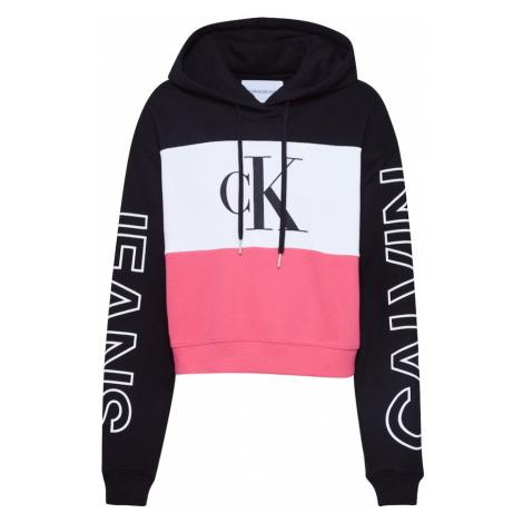 Calvin Klein Jeans Bluzka sportowa 'BLOCKING STATEMENT LOGO HOODIE' czarny / biały / różowy