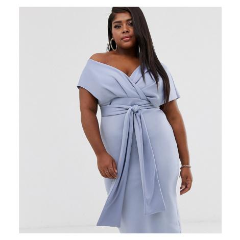 ASOS DESIGN Curve fallen shoulder midi pencil dress with tie detail