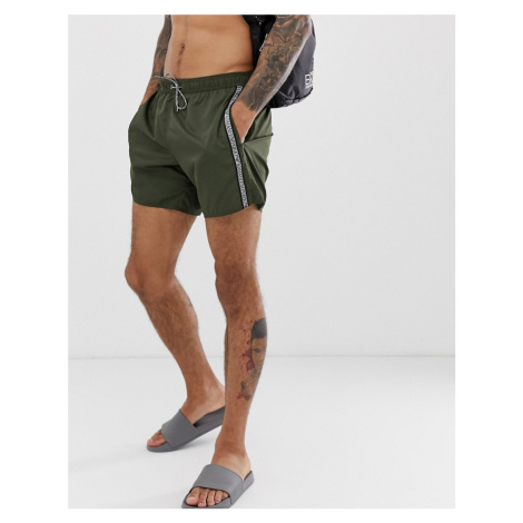 Emporio Armani taped logo swim shorts in khaki