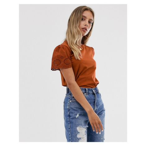 ASOS DESIGN t-shirt with broderie sleeve in rust