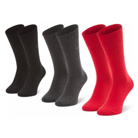 Calvin Klein Zestaw 3 par wysokich skarpet męskich 100001752 r.OS Czerwony
