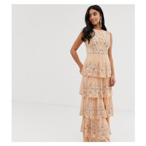 Maya Petite all over embellished tiered maxi dress in soft peach