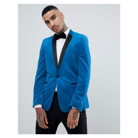 ASOS DESIGN skinny blazer in bright blue velvet
