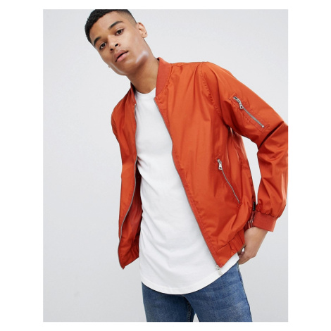 D-Struct Nylon Zip Through Bomber Jacket