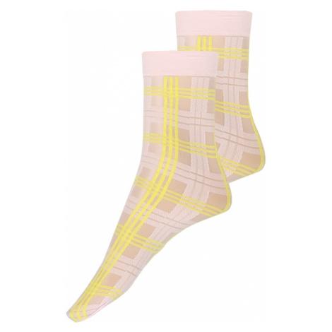Swedish Stockings Skarpety 'Greta Tartan Socks Light Pink/Neon Yellow' neonowo-żółty / różowy
