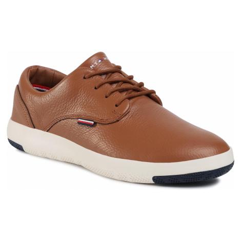 Sneakersy TOMMY HILFIGER - Lighweight City Leather Shoe FM0FM02862 Natural Cognac GTU