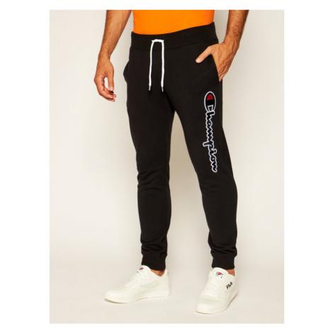 Champion Spodnie dresowe Satin Script Logo 214190 Czarny Regular Fit