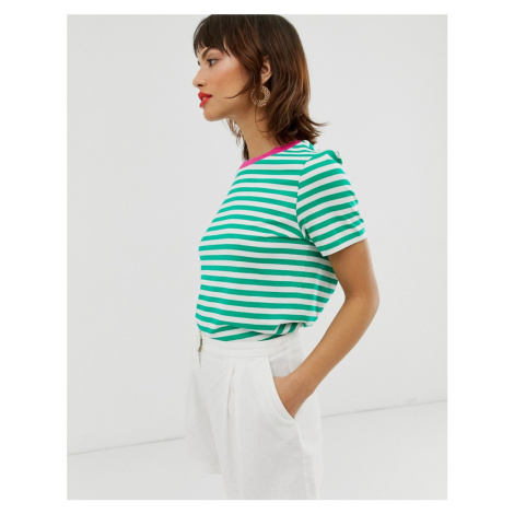 & Other Stories contrast trim stripe tee-shirt in green