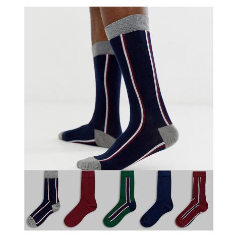 Burton Menswear socks in green stripe 5 pack