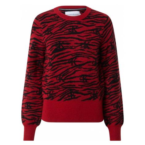 Calvin Klein Jeans Sweter 'ZEBRA' czarny / czerwony