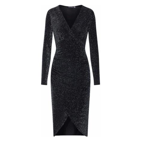 Boohoo Sukienka koktajlowa 'Shimmer Plunge' czarny