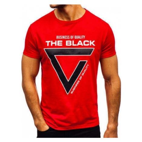 T-shirt męski z nadrukiem czerwony Denley 10821 J.STYLE