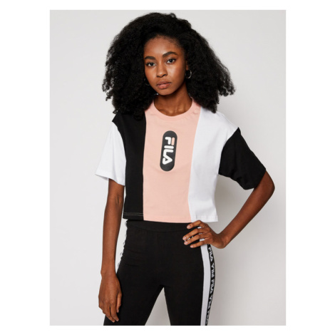 Fila T-Shirt Basma Blocked Tee 687943 Kolorowy Cropped Fit