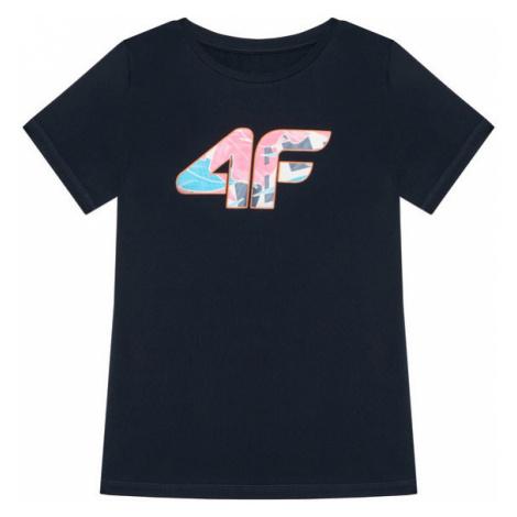 4F T-Shirt HJL21-JTSD015A Granatowy Regular Fit