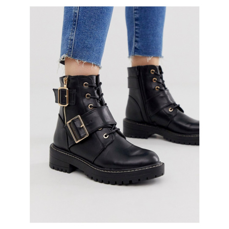 New Look stitch detail chunky flat boots in black