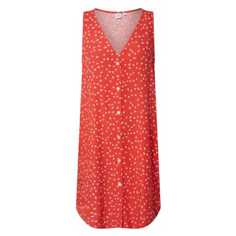 GAP Sukienka 'V-SL BTN SHFT DRESS' czerwony / biały
