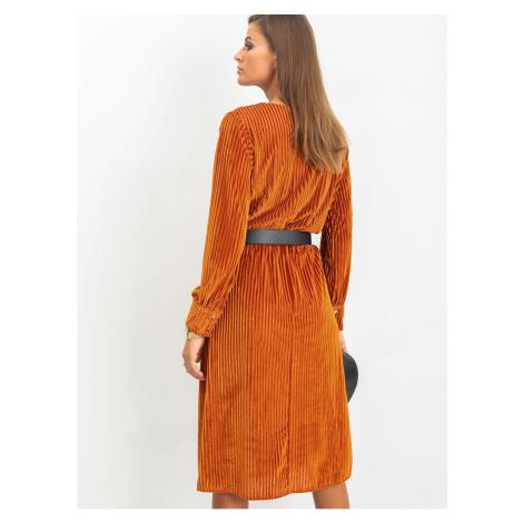 Ciemnopomarańczowa sukienka midi welor