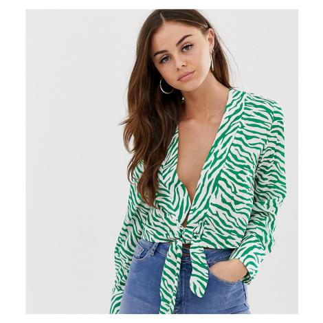 PrettyLittleThing tie front blouse in green zebra