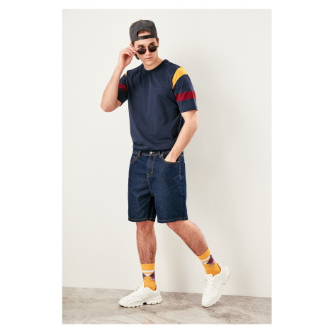 Trendyol Navy men's Arms Banded Collar t-shirt Bike