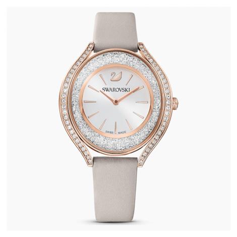 Zegarek Crystalline Aura, pasek ze skóry, szary, powłoka PVD w odcieniu różowego złota Swarovski