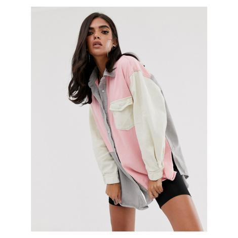 Missguided oversized denim shirt in pastel colour block
