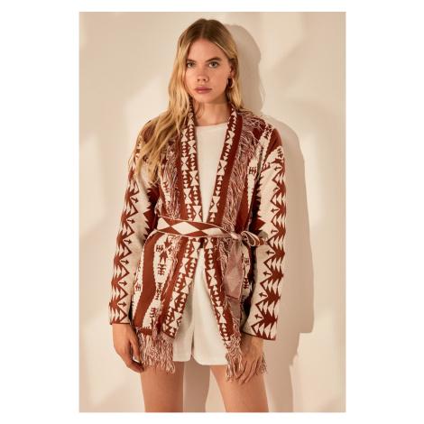 Trendyol Brown Jacquard Knit Cardigan