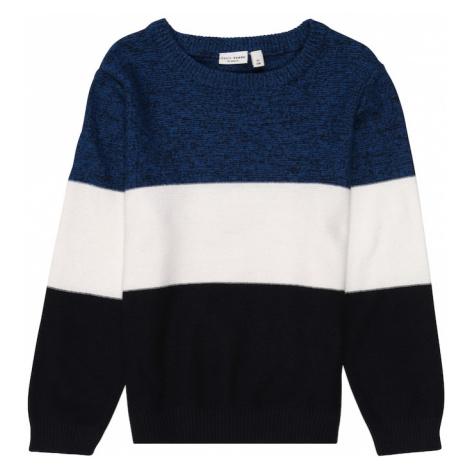 NAME IT Sweter 'VOHAN' biały / czarny / nakrapiany niebieski
