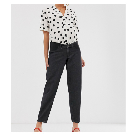 ASOS DESIGN Maternity soft peg jeans in washed black with back tab detail