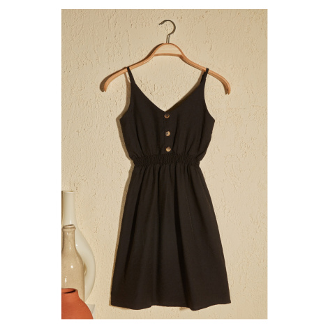 Trendyol Black Button Detailed Strap Dress