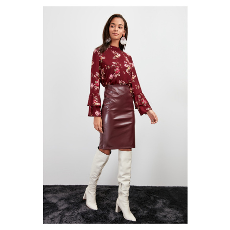 Trendyol Burgundy Artificial Leather Knitted Skirt
