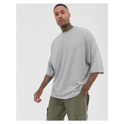 ASOS DESIGN extreme oversized longline t-shirt with roll sleeve in grey
