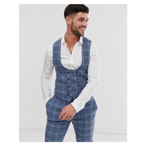 ASOS DESIGN wedding super skinny suit waistcoat in blue wool blend check