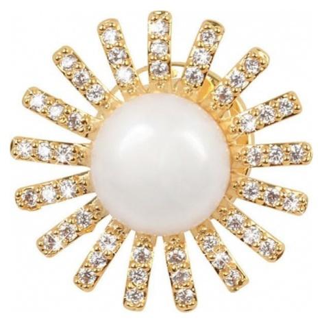 JwL Luxury Pearls Pozłacany ornament z praworęczną kurtką i kryształkiem JL0381
