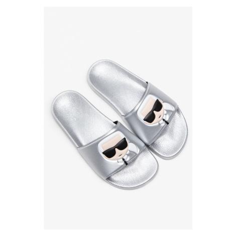 Klapki Karl Lagerfeld Kondo Ii Ikonic Slide Kl80905-Vsl Silver