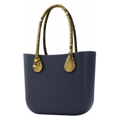 O bag torebka Navy z długimi żółtymi uchwytami ze skajki Snake