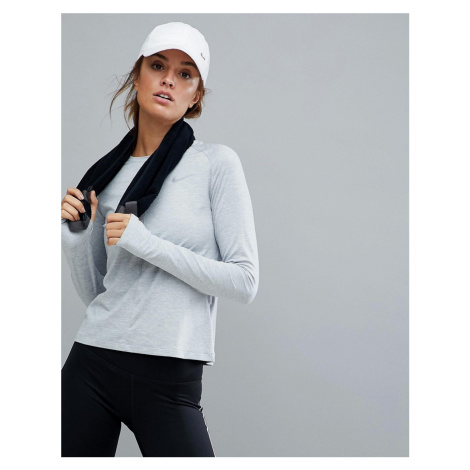 Nike Running Element Long Sleeve Top In Grey