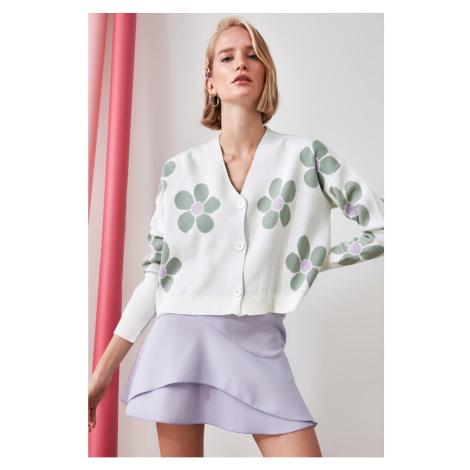 Trendyol Ekru Jacquard Knitwear Cardigan