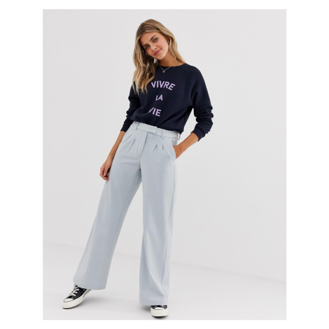 JDY tailored wideleg trousers in blue
