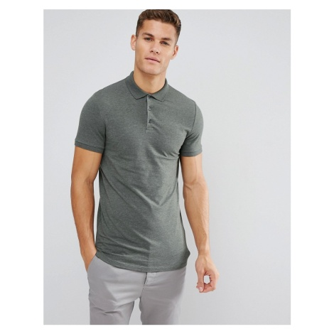 ASOS DESIGN longline muscle fit jersey polo in green